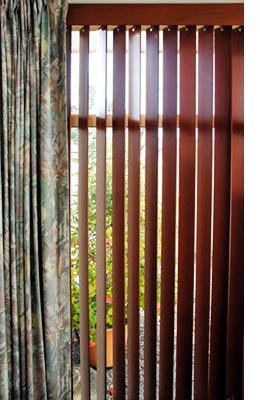 curtain and vertical cedad blinds